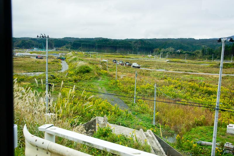 志津川駅を気仙沼側にある跨線橋上から眺めたところ。草蒸してはいるが、そこが駅であったことはハッキリと判った。