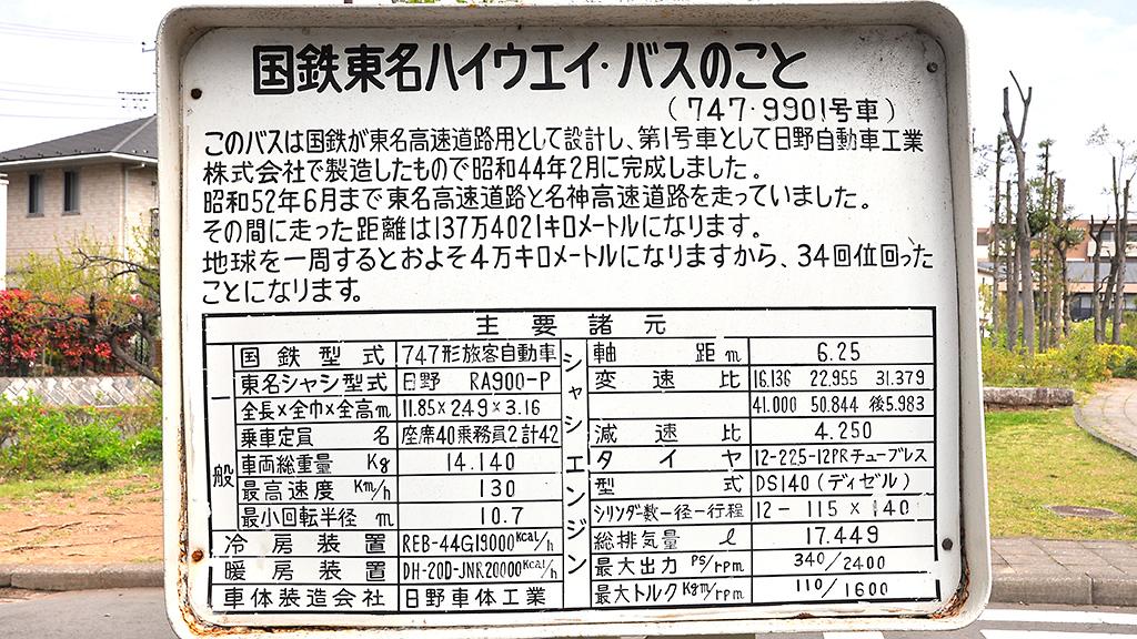 RA900Pの左後方に掲げられた説明板。細かい解説はこちらを読んでいただくとして、「タイヤ」のサイズは現在のとは違っている。