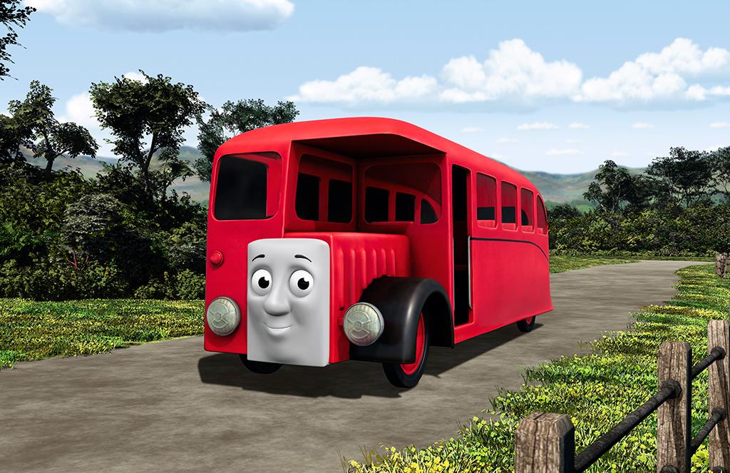 """©2016 Gullane(Thomas)Limited. 『バスのバーティー』は、""""きかんしゃトーマスと仲間たち""""の物語中では「トーマスと仲良し。トーマスの支線のそばの道路を走っている赤色のバス。トーマスのことをからかって、競走したことがある。」といったキャラクター。"""