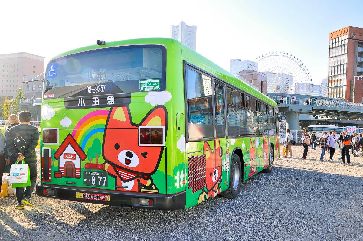 小田急バス08-E9257登戸営業所 緑色きゅんたラッピング いすゞエルガPKG-LV234L2。