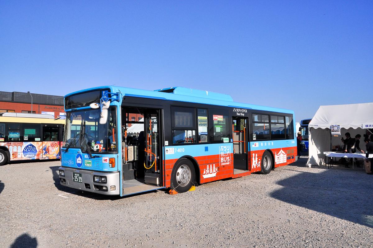 横浜市交通局7-4610滝頭営業所 ぶらり赤レンガBUS 日産ディーゼル+西日本車体工業製車体スペースランナーRA PKG-RA274KAN。
